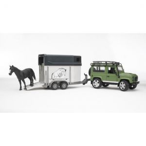 Land Rover Defender Station Wagon con rimorchio e cavallo di Bruder