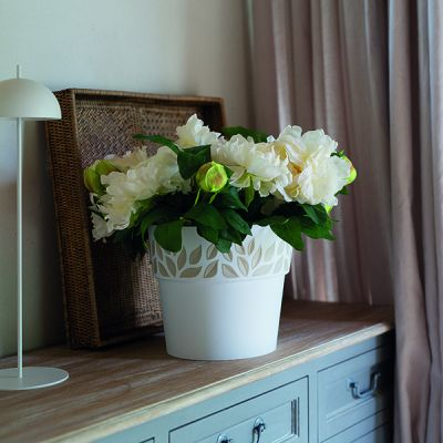 Vaso Cloe Con Decoro Foglie Diametro 25 Cm Bianco di Stefanplast