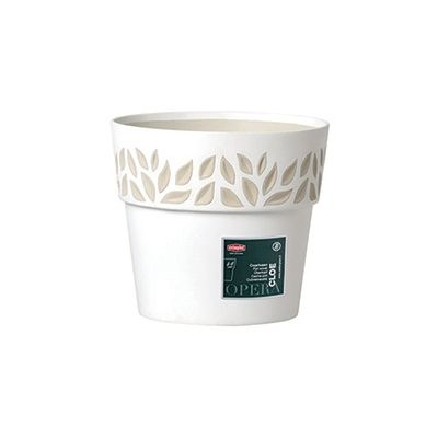 Vaso Cloe Con Decoro Foglie Diametro 30 Cm Bianco di Stefanplast