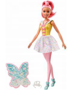 Barbie Dreamtopia Bambola Tema Caramelle Colorate con Capelli e Ali Rosa di Mattel