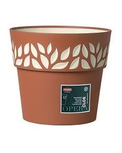 Vaso Cloe Con Decoro Foglie Diametro 20 Cm Terra Vanilla di Stefanplast