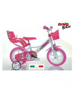 Bici 12 124PL-UN Unicorn Bike, Bianco & Rosa di Dino Bike