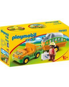 Playmobil 1.2.3. - 70182 - Veicolo Zoo con Rinoceronte