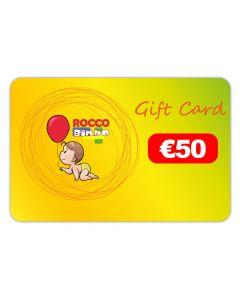 Buono Regalo - Gift Card 50 Euro- Roccobimbo.it e un biglietto d'auguri