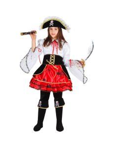Set La Pirata dei Caraibi Bambina Carnevale-Halloween Taglia S 5/6 anni di Roccobimbo