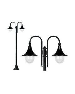 Lampione alluminio 2 luci Galatea palo cm.210h illuminazione esterno di Fraschetti