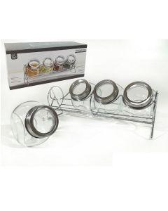 Set 4 Barattoli Portaspezie in vetro con Stand di Vacchetti