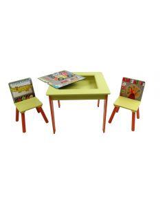 Tavolo con Piano Lavagna e due Sedie Jungle di Giocheria