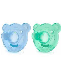 Ciuccio Morbido Soothie +3M Bambina, Azzurro e Verde di Philips Avent